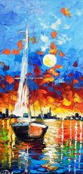 Evening sailboat, Paintings, Fine Art,Impressionism, Fantasy,Seascape, Canvas, By Olha   Darchuk