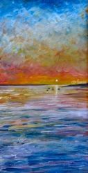 Evening Sun, Paintings, Fine Art,Impressionism,Realism, Seascape, Acrylic,Painting, By Matthew Evans