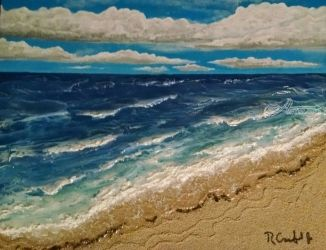 Ewa Beach, Decorative Arts,Paintings, Expressionism,Fine Art, Seascape, Mixed, By Robert Crawford