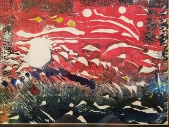 Expressionism Sky Fall in Reds painting 1 of 2 sequential monoprints