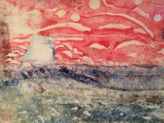 Expressionism Sky Fall in Reds painting 2 of 2 sequential monoprints