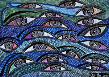 Eyes faces art Israel by<br>modern artist painter Mirit<br>Ben-Nun, Drawings / Sketch, Expressionism, Floral, Ink, By Mirit Ben-Nun