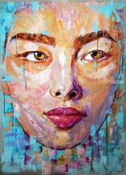 Face of Asia, Paintings, Expressionism,Fine Art,Modernism,Street Art, Conceptual,People,Portrait, Acrylic, By Anna Sidi Yacoub