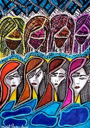 Faces and faces Jewish Israeli<br>artist colorful drawing, Drawings / Sketch, Primitive, Decorative, Ink, By Mirit Ben-Nun