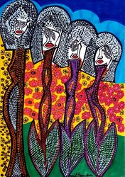 Faces and flowers artist<br>modern colorful drawings from<br>Israel, Drawings / Sketch, Abstract, Figurative, Mixed, By Mirit Ben-Nun