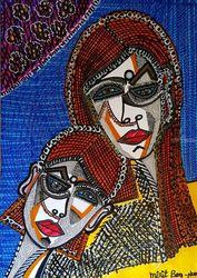 Faces Jewish Israeli artist<br>modern drawings on paper, Drawings / Sketch, Abstract, Figurative, Ink, By Mirit Ben-Nun