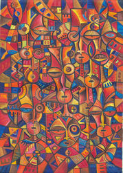 Faces VI. Original painting<br>from Cameroon, Africa, Paintings, Abstract,Cubism,Fine Art, People, Acrylic, By Angu Walters Che