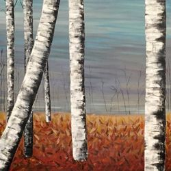 Fall Birches, Paintings, Abstract,Impressionism, Botanical,Landscape, Acrylic, By Judith Cahill