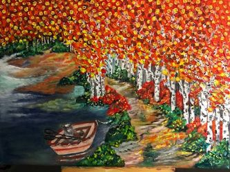 Fall by the shore, Paintings, Fine Art, Botanical, Canvas, By Lubov Pavluk