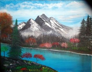 Fall in the Mountain, Paintings, Fine Art, Landscape, Canvas,Oil,Painting, By Lana Fultz