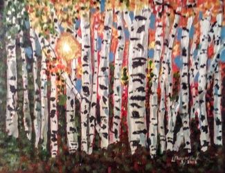 Fall of the Birch, Paintings, Abstract, Conceptual,Landscape, Acrylic, By Lisa Bowersock