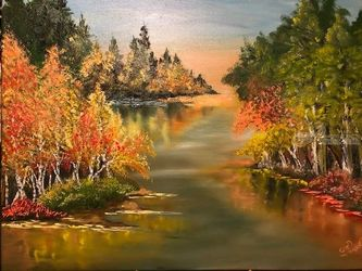 Fall on the shore, Paintings, Fine Art, Decorative, Canvas, By Lubov Pavluk