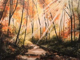 Fall Streaking, Paintings, Impressionism, Landscape, Watercolor, By Stephen Keller