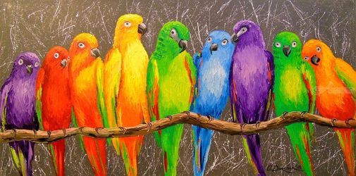 Family parrots, Paintings, Impressionism, Animals, Canvas,Oil,Painting, By Olha   Darchuk