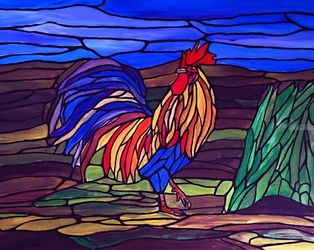 Fancy Rooster, Paintings, Fine Art,Surrealism, Animals,Landscape, Canvas, By Rachel Olynuk