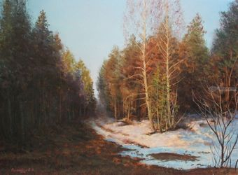 Farewell to the Day, Paintings, Realism, Landscape,Nature, Canvas,Oil, By Viktor Kucheryavyy