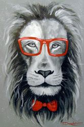 Fashionable Lion, Paintings, Fine Art,Impressionism, Animals,Fantasy,Inspirational, Canvas,Oil,Painting, By Olha   Darchuk