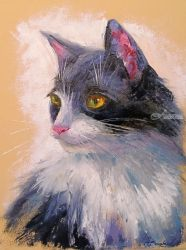 Favorite cat, Paintings, Impressionism, Animals, Canvas,Pastel,Photography: Metal Print, By Olha   Darchuk