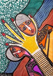 Female art Israel original<br>modern drawings, Paintings, Expressionism, Fantasy, Ink, By Mirit Ben-Nun