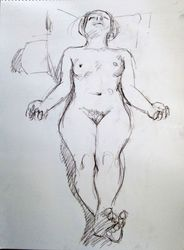 Female Nude, Drawings / Sketch, Fine Art, Nudes, Pencil, By Marc Clamage