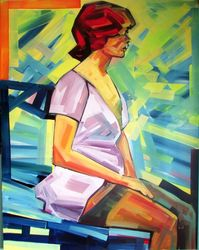 Femme Fatale, Paintings, Modernism, Erotic,Figurative, Canvas,Mixed,Oil,Wood, By Piotr Kachny