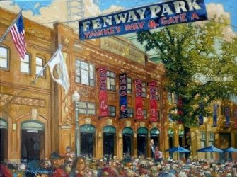 Fenway Summer, Paintings, Fine Art, Cityscape, Oil, By Gregg Hinlicky