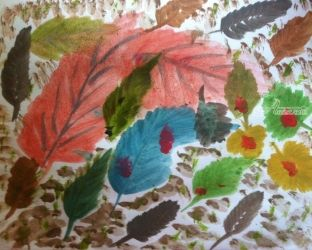 Feuilles de Bonheur., Paintings, Impressionism, Still Life, Watercolor, By Catherine Bayani
