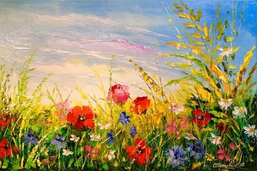 Field and flowers, Paintings, Impressionism, Botanical,Floral,Landscape, Canvas,Oil,Painting, By Olha   Darchuk