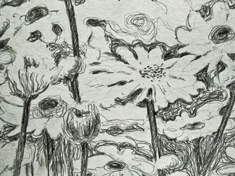 Field Flowers, Drawings / Sketch, Expressionism, Floral, Pencil, By Tetyana K