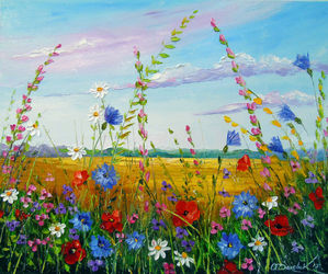 Field in summer flowers, Paintings, Fine Art,Impressionism, Botanical,Floral,Landscape, Canvas,Oil,Painting, By Olha   Darchuk