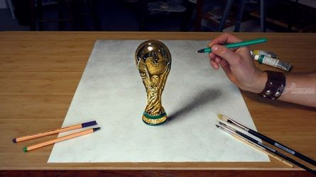 FIFA World Cup 3D Drawing/<br>football 2018, Paintings, Realism, 3-D,Figurative, Oil, By Stefan Pabst