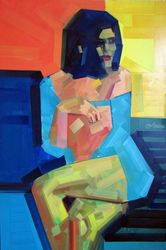 Figure_Pleasure, Paintings, Cubism,Pop Art, Figurative, Canvas,Wood, By Piotr Kachny