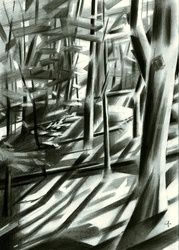 Filosofendal (Valley of the<br>Philosophers) - 20-10-15, Drawings / Sketch, Abstract,Cubism,Fine Art,Impressionism,Realism,Surrealism, Composition,Figurative,Inspirational,Landscape,Nature, Pencil, By Corne Akkers