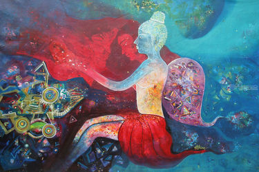 FIND YOUR DREAM AND PEACE, Paintings, Existentialism,Expressionism,Fine Art, Fantasy,Figurative, Acrylic, By sanjay punekar