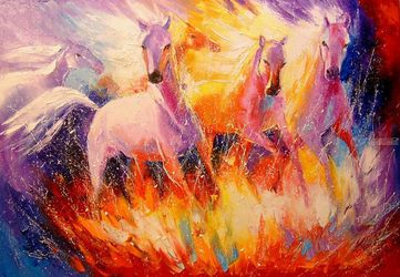 Fire horse, Paintings, Impressionism, Animals, Canvas,Oil,Painting, By Olha   Darchuk