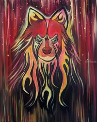 Fire Wolf, Paintings, Fine Art,Surrealism, Animals,Mythical,Wildlife, Acrylic, By adam santana