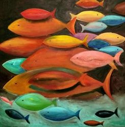 Fishes, Paintings, Fine Art, Animals,Nature,Wildlife, Canvas,Oil, By Anastasia Salo