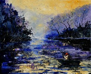Fishing, Architecture,Decorative Arts,Drawings / Sketch,Paintings, Expressionism, Landscape, Canvas, By Pol Ledent