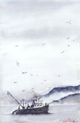 Fishing boat, Paintings, Fine Art, Seascape, Watercolor, By Eugene Gorbachenko
