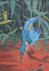 Fishing Kingfisher, Paintings, Fine Art,Impressionism,Surrealism, Animals, Watercolor, By Ann Biddlecombe