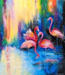 Flamingo, Paintings, Impressionism, Animals, Canvas,Oil,Painting, By Olha   Darchuk