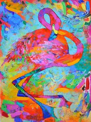 Flamingo, Paintings, Impressionism, Animals, Oil, By Vyara Tichkova