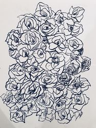 Flower Fall, Drawings / Sketch, Impressionism, Botanical, Ink, By Deb Schmidt
