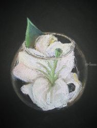 Flower in a vase, Graphic, Impressionism, Botanical, Pastel, By Ivan Klymenko