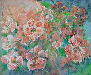 FLOWER MOOD, spring flowers<br>large original painting, Paintings, Abstract, Floral,Nature, Acrylic,Canvas, By Emilia Milcheva