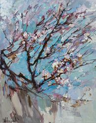 Flowering apricot tree<br>Original oil painting, Paintings, Impressionism, Floral, Canvas,Oil, By Anastasiya Valiulina