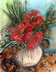 Flowers, Collage,Paintings, Realism, Botanical, Mixed,Painting,Watercolor, By Maria Koleva
