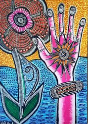 Flowers and hamsa Jewish<br>Israeli artist colorful<br>drawing, Drawings / Sketch, Expressionism, Floral, Ink, By Mirit Ben-Nun
