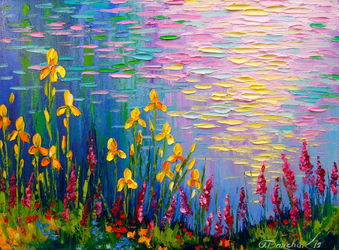 Flowers by the pond, Paintings, Impressionism, Botanical,Floral,Landscape,Nature, Canvas,Oil,Painting, By Olha   Darchuk