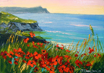 Flowers by the sea, Paintings, Expressionism,Fine Art,Impressionism, Botanical,Floral,Landscape,Nature,Seascape, Canvas,Oil,Painting, By Olha   Darchuk
